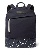Want Les Essentiels Kastrup Coated Leather Trimmed Organic Cotton Canvas Backpack Navy