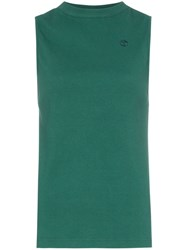 Telfar Ribbed Stretch Cotton Tank Top Green