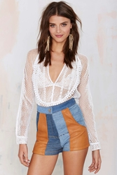 Nasty Gal After Party Vintage Nellie Leather Patchwork Shorts