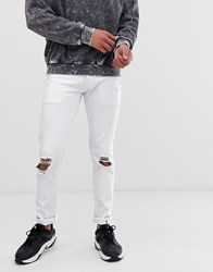 Lindbergh Super Skinny Jeans With Distressing In White