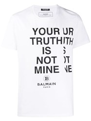 Balmain Slogan T Shirt White