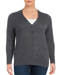 Lord And Taylor Plus Button Front Merino Wool Cardigan Graphite Heather