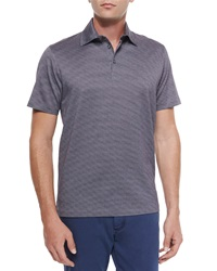 Ermenegildo Zegna Circle Print Short Sleeve Polo Shirt Purple