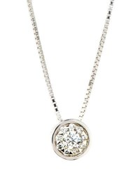Memoire 18K Diamond Bouquets Bezel Pendant Necklace 0.17Tcw