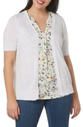 Evans Plus Size Women's Short Sleeve Cardigan White