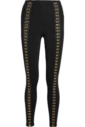 Balmain Embellished Ribbed Stretch Knit Leggings Black