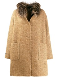 Manzoni 24 Knitted Mid Length Coat Brown