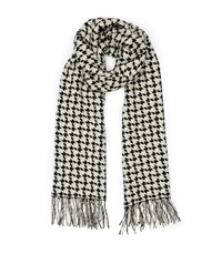 Reiss Marlin Houndstooth Scarf In Black Womens