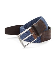Bugatti Leather Trimmed Woven Belt Blue
