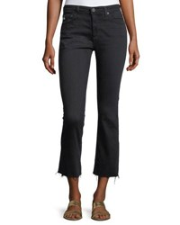 Ag Adriano Goldschmied The Jodi High Rise Slim Flare Crop Jeans Black