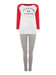 Tommy Hilfiger Cotton Iconic 3 4 Sleeve Pyjama Set Red