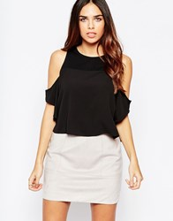 Wal G Top With Cold Shoulder Black