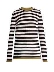 Marni Striped Linen And Silk Blend Sweater Black Stripe