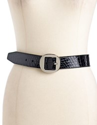 Calvin Klein Patent Leather Snakeskin Belt Black