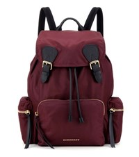 Burberry The Large Leather Trimmed Backpack Red