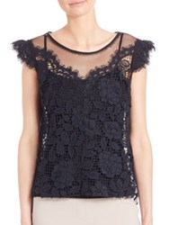 Elie Tahari Virginia Cap Sleeve Lace Blouse Stargazer