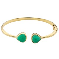 John Lewis Gemstones 18Ct Gold Hinged Semi Precious Stone Bangle Green Onyx
