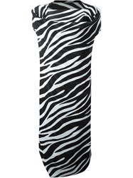 Junya Watanabe Comme Des Gara Ons Draped Zebra Print Dress Black
