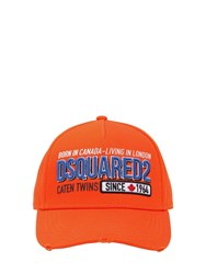 Dsquared Embroidered And Printed Cotton Canvas Hat Orange