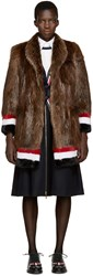 Thom Browne Brown And Tricolor Fur Coat