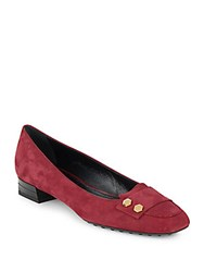 Tod's Studded Leather Flats Maroon