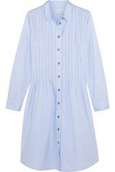 Chinti And Parker Pleated Cotton Poplin Dress Light Blue