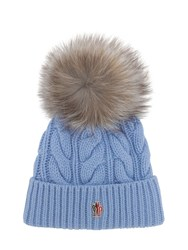 Moncler Wool And Cashmere Cable Knit Hat Blue