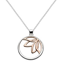 Kit Heath Lotus Sterling Silver Round Pendant Silver Rose Gold
