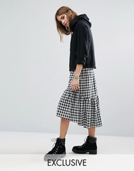 Reclaimed Vintage Drop Hem Skirt In Check Black