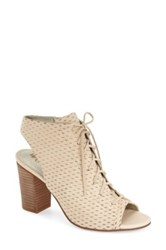 Sam Edelman Ennette Perforated Lace Up Suede Bootie Beige