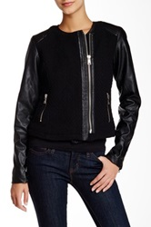 Steve Madden Crochet And Faux Leather Jacket Black