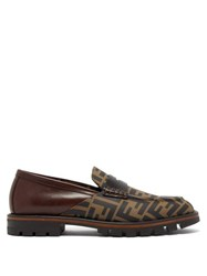 Fendi Logo Print Leather Penny Loafers Brown