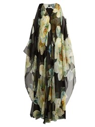 Lanvin English Rose Print Silk Voile Gown Black Print