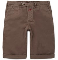 Isaia Stretch Cotton Twill Shorts Army Green
