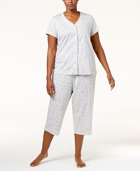 Charter Club Plus Size Loop Trimmed Top And Cropped Pants Pajama Set Only At Macy's Vineyard