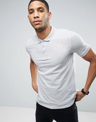 Only And Sons Pique Polo In Slim Fit Light Grey