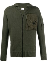 C.P. Company Cp Chest Pocket Zip Up Cardigan Green