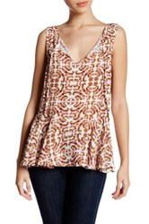 Cupcakes And Cashmere Front Tie Sleeveless Floral Blouse Multi