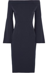 Iris And Ink Off The Shoulder Crepe Dress Midnight Blue