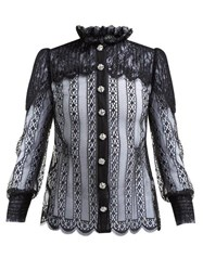 Dolce And Gabbana Crystal Embellished Chantilly Lace Blouse Black