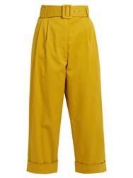 Isa Arfen Safari High Waist Cropped Trousers Yellow