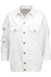 R 13 R13 Distressed Denim Jacket White
