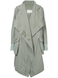 Greg Lauren Oversized Parka Coat Green