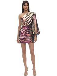 Alex Perry One Shoulder Sequined Mini Dress Pink