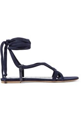 Gabriela Hearst Reeves Suede And Croc Effect Leather Sandals Navy