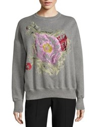 Alexander Mcqueen Threaded Cotton Sweatshirt Grey
