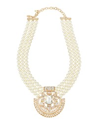 Greenbeads By Emily And Ashley Triple Strand Pearl Statement Necklace
