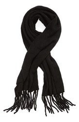 Free People Jaden Rib Knit Blanket Scarf Black