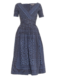 Preen Line Saira Open Back Printed Denim Dress