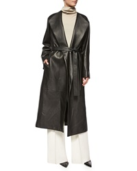 The Row Tuggas Grained Leather Wrap Coat